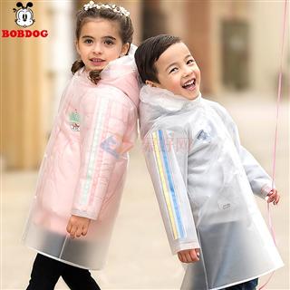 巴布豆3-5-7-9岁儿童上学防水防风雨衣雨披加厚透明丝带款雨具