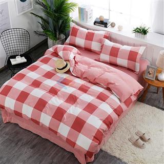 聚好专供 水洗棉 格子 四件套简约时尚1.8m床上用品 面料柔软舒适