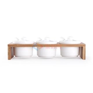 ABS/爱彼此 Nigel楠竹系列陶瓷调味罐(3件组)