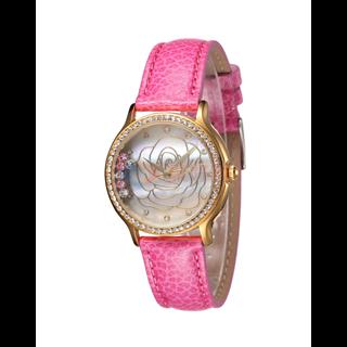 Actimer品牌 女表玫瑰星空 流动水晶贝壳面真皮钻表