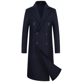 秋冬新款手工双面呢羊绒大衣男长款过膝羊毛呢子大衣男外套