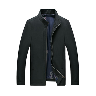 2018秋季新款中年男士立领纯色大码修身高档夹克外套厂家直销