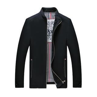 秋季新款中年男款纯色立领大码男士时尚修身夹克外套