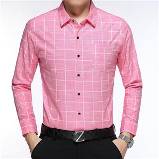 秋季新款男款时尚韩版修身格子衬衫