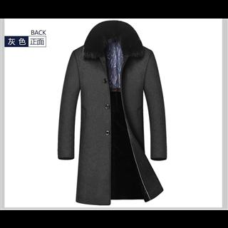 秋冬中年男士大衣长款男装大毛领加绒夹棉厚款毛呢风衣男外套