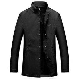 2018秋季新款中年男士时尚纯色立领风衣夹克外套男