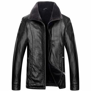 冬季新款男士时尚加绒加厚保暖舒适皮毛一体大码皮衣6色可选