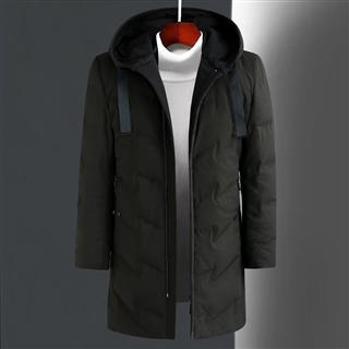 冬季新款男士中长款修身时尚保暖纯色连帽男款羽绒服