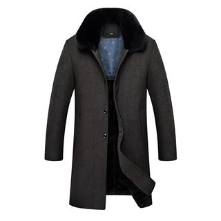 2108秋冬新款中年男士纯色大码中长款大毛领加绒加厚毛呢男款大衣外套