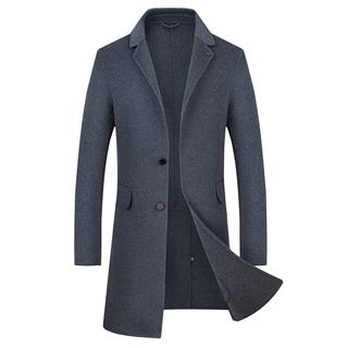 18年秋冬新款时尚修身纯色男士大码中长款纯手工双面尼大衣风衣