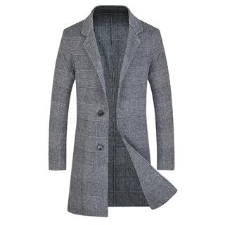 秋冬18年新款男士时尚修身爆款格子双面羊绒大衣风衣外套