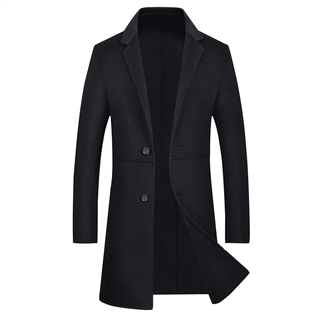2018秋冬新款男款时尚纯色修身中长款男士双面尼大衣