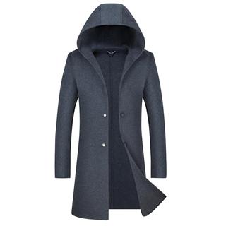 新款秋冬款男士时尚连帽中长款纯手工双面尼大衣风衣外套