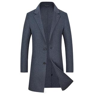 18年秋冬新款男士时尚修身纯色中长款两粒扣男款双面羊毛大衣