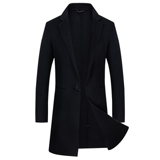 秋冬新款中年男士中长款经典一粒扣纯手工双面羊毛大衣外套