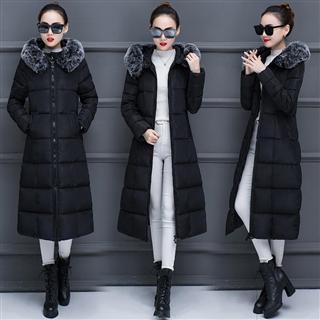 冬季新款长款过膝加厚棉服韩版修身大毛领保暖外套