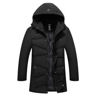 2018冬季新款男士中长款纯色连帽保暖舒适大码优质羽绒棉棉衣外套