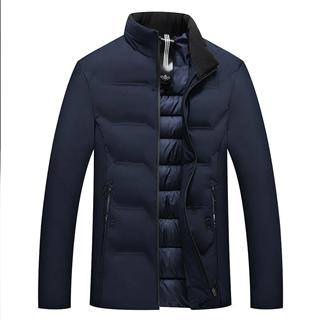 新款男士立领纯色经典款时尚修身保暖棉衣外套