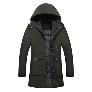 2018冬季新款男士中长款纯色连帽加厚保暖舒适棉衣棉服
