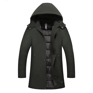 18年冬季新款中年男士纯色中长款保暖舒适可脱卸帽子棉衣外套