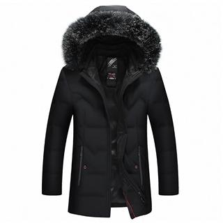 18年冬季新款纯色舒适保暖中长款连帽狐狸大毛领男款羽绒服外套