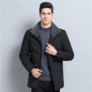 新款2018冬季男士时尚修身经典款立领纯色保暖舒适男款羽绒服