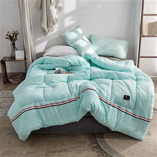 PACA蓝岸家纺 纯色水洗棉冬被 简约风天蓝色水洗棉保暖厚被子羽丝绒被芯