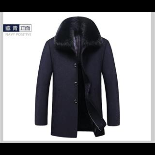 228元包邮50%羊毛秋冬毛呢加绒夹棉加厚可脱卸大毛领羊毛呢子大衣风衣外套男装