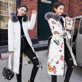 169包邮两面穿棉袄女中长款加厚大码棉衣韩版修身冬季羽绒棉服印花bf外套