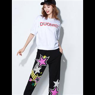 新款时尚嘻哈运动套装 广场舞服装练功舞蹈服