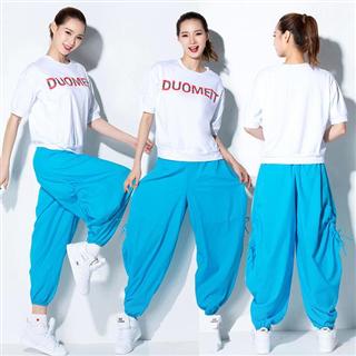 纯色宽松灯笼裤运动街舞广场舞服装新款套装