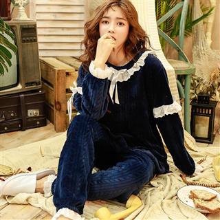 法兰绒睡衣女冬韩版加厚保暖甜美可爱公主清新家居服套装