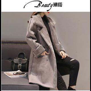 299包邮冬天羊羔毛外套女鹿皮绒加厚棉衣女冬季韩版中长款大衣新疆 西藏运费20元