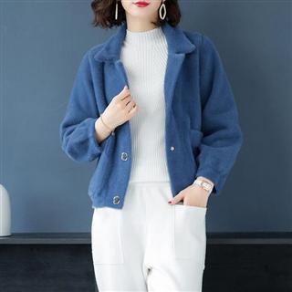 秋冬新品纯色大口袋仿水貂绒外套