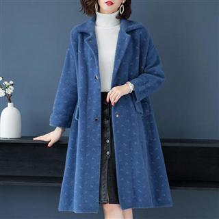 冬季新品长款仿水貂绒外套毛衣 厚款大口袋休闲大衣外套