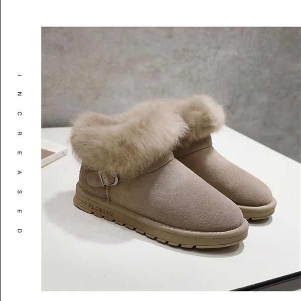 189包邮ZHR2018冬季新款毛毛鞋子女平底加厚小短靴加绒棉鞋百搭雪地靴潮