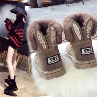 冬季棉鞋水钻加厚棉毛毛雪地靴