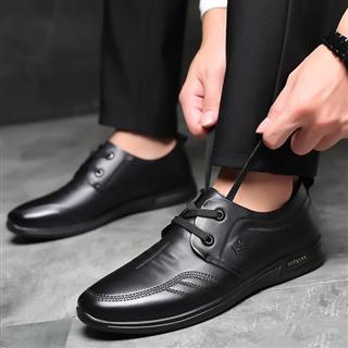 真皮系带圆头软底防滑保暖休闲鞋(单&绒两种可选)