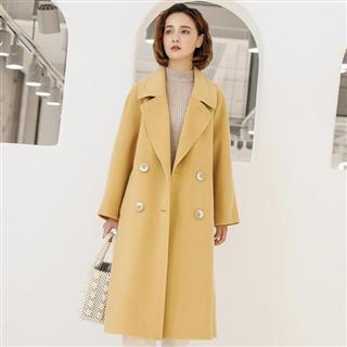 【双面羊绒大衣】新款欧美高端加长款气质通勤翻领毛呢外套