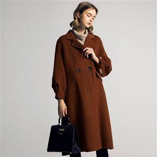 【双面羊绒大衣】欧美高端加长款气质通勤毛呢大衣