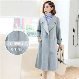 【双面呢羊绒大衣】时尚韩版加长款大翻领呢外套