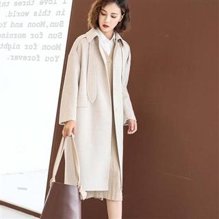 【双面呢羊绒大衣】高端纯色宽松中长款羊毛呢高领口外套
