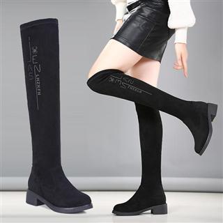 秋冬加绒方跟性感弹力长筒靴