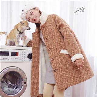 【聚好促销】保暖厚实 抗旱羊羔绒呢大衣 2018秋冬格子毛呢外套 韩版宽松羊羔毛加绒 呢大衣