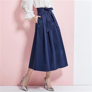 【时尚半身裙】百褶纯色系带收腰显瘦开叉大摆半身裙