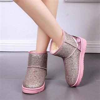冬季新款韩版低帮亮片百搭休闲加绒短靴