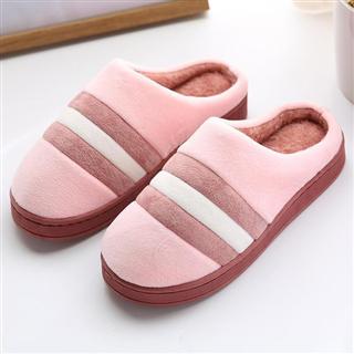 女款时尚居家保暖三色拼接款棉拖鞋(偏小一码)