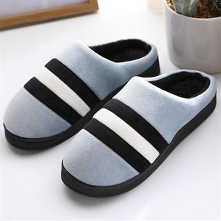 男款时尚居家保暖三色拼接款棉拖鞋(偏小一码)