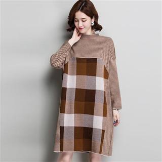 时尚格子拼色韩版宽松前后两面穿毛衣裙