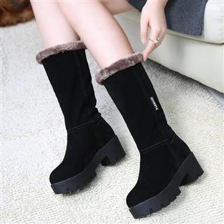 冬季韩版百搭加绒保暖防滑中筒靴